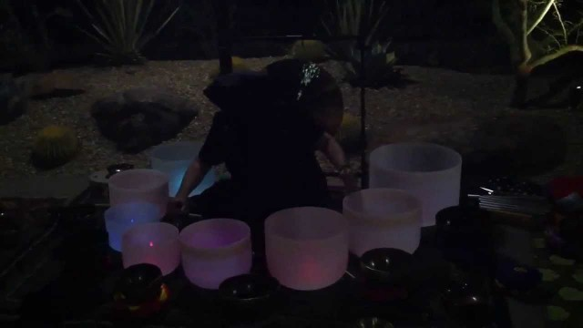 Kenton Knepper playing crystal bowls blindfolded @ Gertrude's @ Desert Botanical Gardens