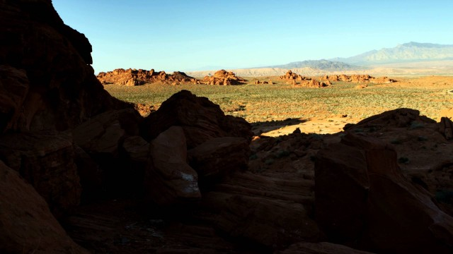 Tracking shot of desert