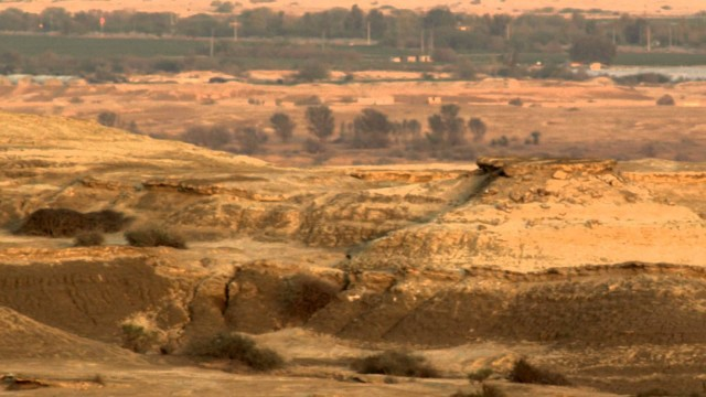 Panning shot of A desert landscape at dusk shot in Israel.