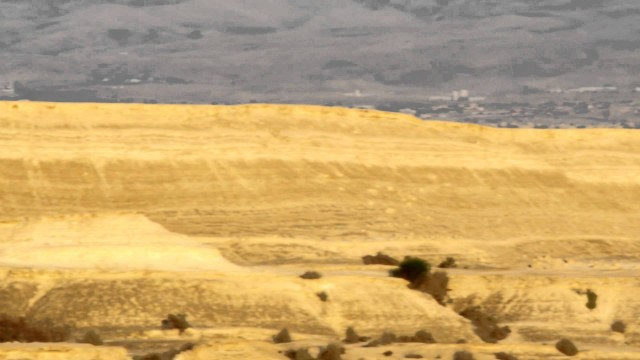 Panning shot of A desert landscape shot in Israel.