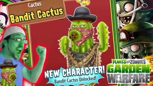 BANDIT CACTUS Unlocked! Quick Needles in Cactus Canyon (Plants vs. Zombies Garden Warfare Gameplay)