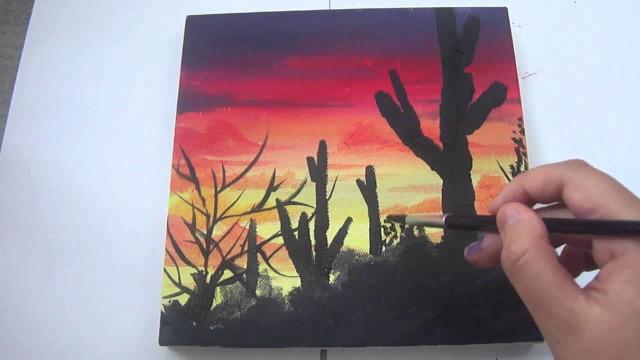 Acrylic desert landscape painting