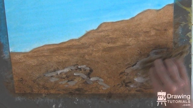Acrylic Painting Tutorial – Painting Desert Landscape & Rocks In Acrylic