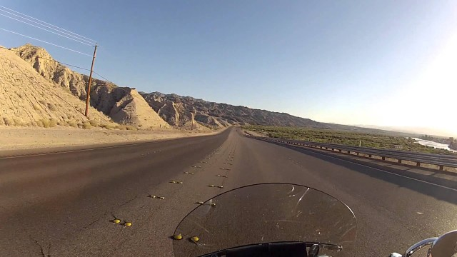Early morning ride through the Nevada/Arizona desert on a Harley with Go Pro camera