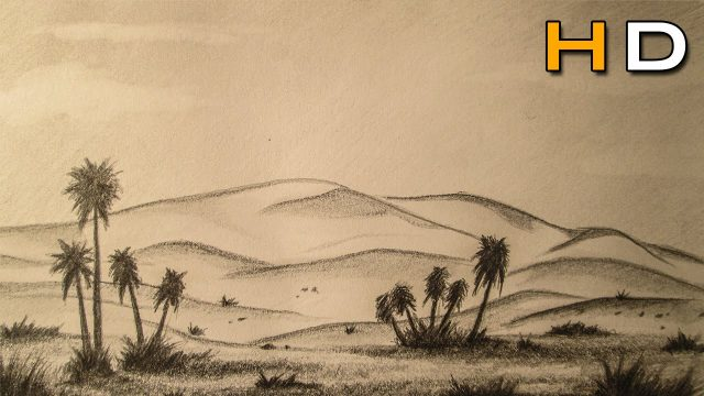 How to Draw a Desert Landscape with pencil Step by Step – Timelapse