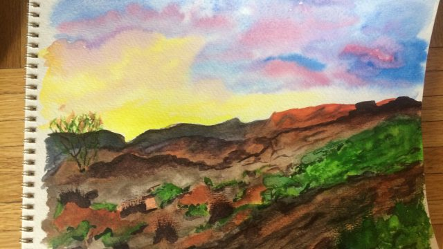 Desert Landscape – A Watercolor Painting