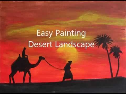 Desert landscape – easy acrylic painting tutorial for beginners. How to paint step by step