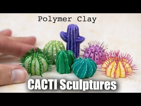 How to Sculpt Cacti / Cactus Sculptures from Polymer Clay // Succulents Plants