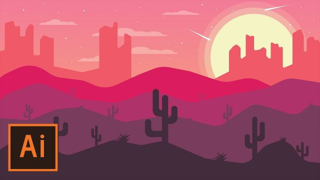 Illustrator Tutorial – Desert Landscape Flat Design (Illustrator Flat Design Tutorial)