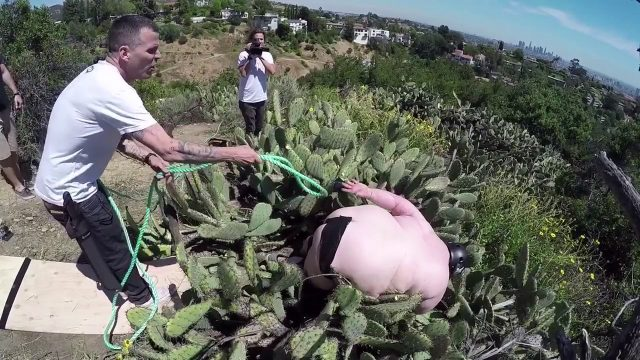 CRAZY MAN SKATEBOARDS INTO CACTUS