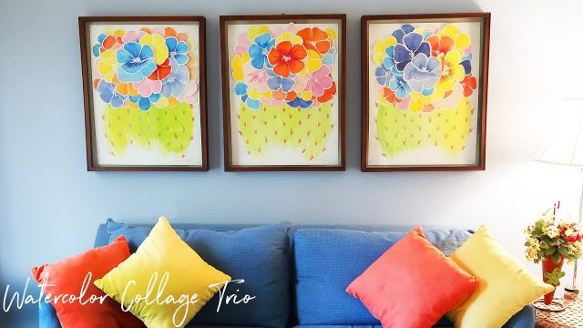 """Blooming Desert Garden"" Watercolor Collage Trio ♥Paige Poppe, Artist"