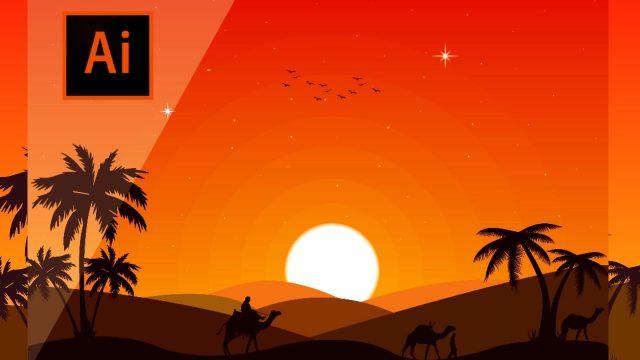 Desert Landscape, Flat Design Artwork in Adobe Illustrator