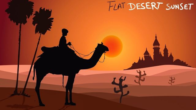 Desert landscape Flat Design Artwork – Illustrator Tutorial