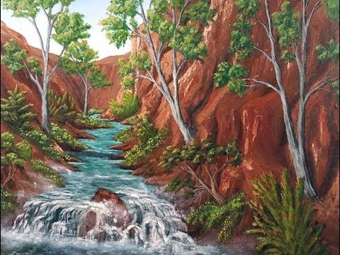 Acrylic Painting Tutorial – Desert Canyon Waterfall River Landscape