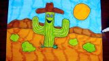 How To Draw A Cartoon Desert Landscape, Step By Step ~ For Kids