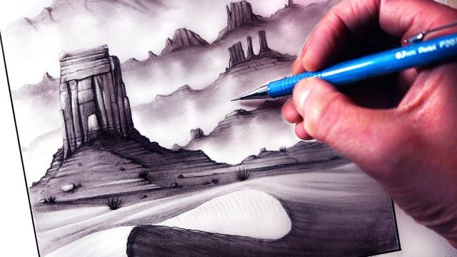 How to Draw a Rocky Desert Landscape