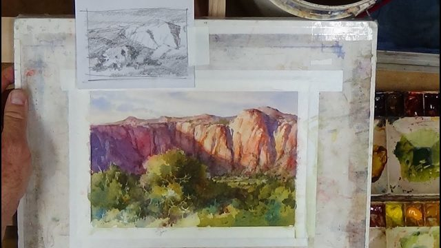 Roland Lee Watercolor Workshop – #1 Desert Landscape Cliffs, Sage, and Pinions
