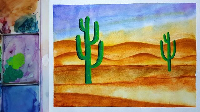 Draw and paint desert landscape | how to draw desert landscape for kids