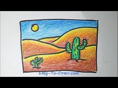 How to draw a cartoon desert step by step – Free & Easy Tutorial for Kids