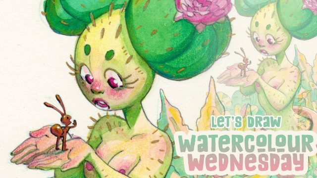 Cacti Girl Watercolour Wednesday