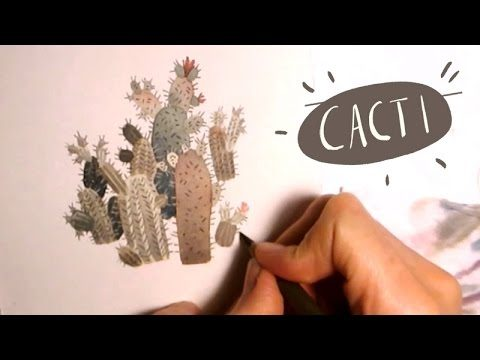 painting random WATERCOLOR Cacti doodles art by Iraville