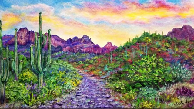 Desert Sunset Landscape Acrylic Painting LIVE Instruction