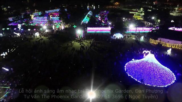 (Flycam) Lễ hội ánh sáng tại The Phoenix Garden khu sinh thái Đan Phượng