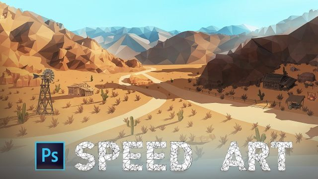 Low Poly Desert Landscape – Photoshop Speed Art