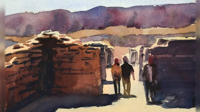 Learn to Paint a Desert Landscape in Watercolor – Narrated Demo