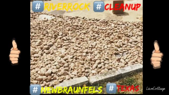 Landscaping with River Rock Flower bed Clean Up New Braunfels Texas | Cactus