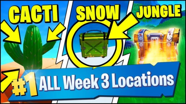 DESTROY CACTI IN THE DESERT, SEARCH AMMO BOXES IN THE SNOW, CHESTS JUNGLE (Fortnite Season 8 Week 3)