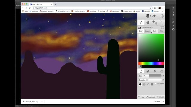 Digital Painting For Kids at Home: Desert Landscape with Kleki