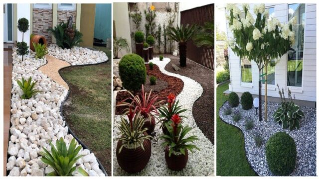 Stone landscaping ideas for front yard |  stone landscaping | DIY garden