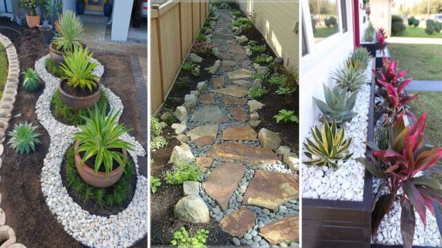 38 Creative Side House Garden Landscaping Ideas With Rocks | garden ideas