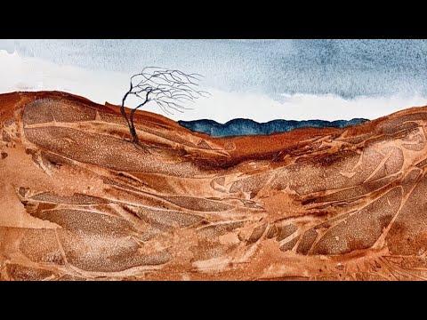 Watercolor – Painting A Desert Landscape.