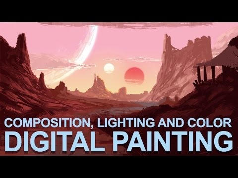 "Digital Painting Sketch – ""Desert Suns"" – Composition, Lighting and Color"