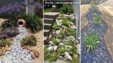 54 outstanding Front Yard Rock Garden Landscaping Ideas | diy garden