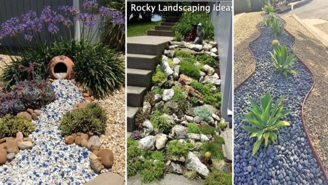 54 outstanding Front Yard Rock Garden Landscaping Ideas | diy garden