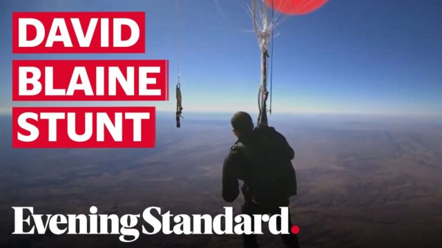 David Blaine soars above Arizona desert using helium balloons in latest stunt by the illusionist