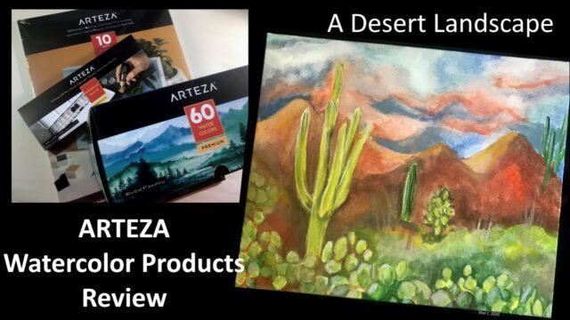 Arteza Watercolor Products Review – Desert Landscape Watercolor Canvas