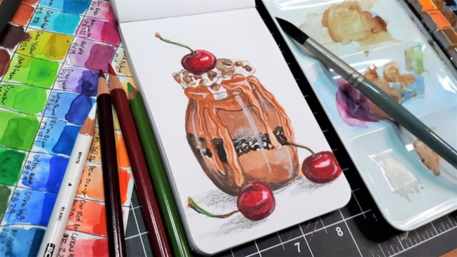 A Dessert for Santa! Watercolor Tutorial with Colored Pencil Accents