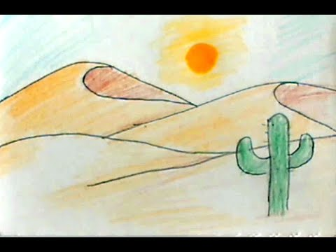 How to draw a desert scene very easy step by step