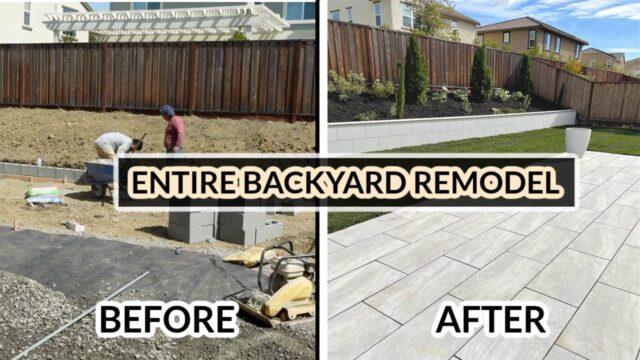 ENTIRE BACKYARD REMODEL TRANSFORMATION *Start to Finish* Modern Paver Tiles HARDSCAPE