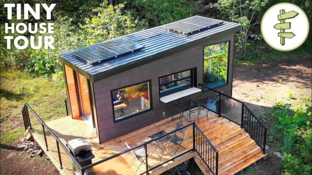 Off-Grid Tiny House with Dual Bed Design & Garage Door Window – Full Tour