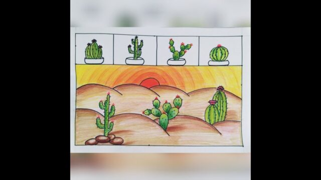 How to draw Cactus Plants | Desert drawing coloring Tutorial | Step by step drawing