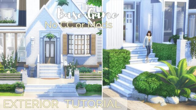 EXTERIOR • LANDSCAPING IDEAS | BASE GAME TUTORIAL | No CC or Mods | The Sims 4