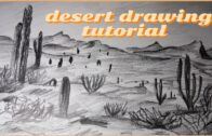 Desert landscape map    Step by step coloring