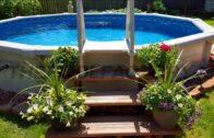 [Modern Backyard] Backyard design of above ground swimming pool [Small