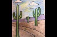 Art class: fifth grade.Desert landscape