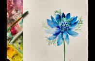 Blue Watercolor Flower Nigella Simple Painting-Pink Puddle Studio